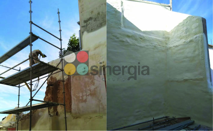 Proyección de poliuretano para fachadas y paredes en benimantell