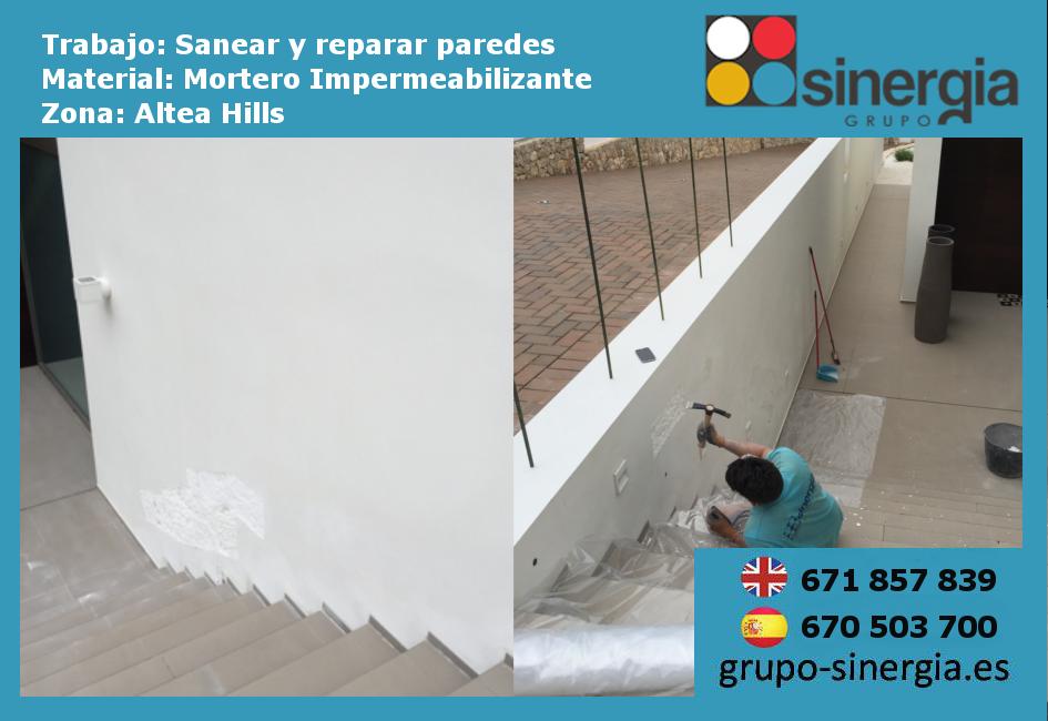 Sanear y reparar paredes con mortero impermeabilizante